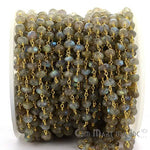 Labradorite 6-7mm Beads Chain, Gold Plated wire wrapped Rosary Chain, Jewelry Making Supplies (GPLB-30036)