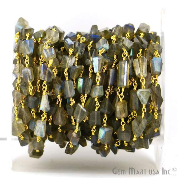 Labradorite fancy beads rosary chain, 10x6mm unshape Gold plated wire wrapped link Stone (GPLB-30042)