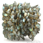 Labradorite Briolette 10x6mm Beads Chain, Gold Plated wire wrapped Rosary Chain, Jewelry Making Supplies (GPLB-30067)
