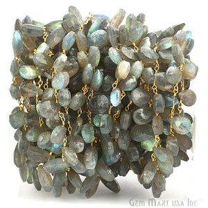 Labradorite Briolette Beads Gold Wire Wrapped Dangle Rosary Chain - GemMartUSA
