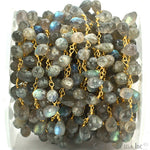 Labradorite Briolette 7x4mm Beads Chain, Gold Plated wire wrapped Rosary Chain, Jewelry Making Supplies (GPLB-30068)