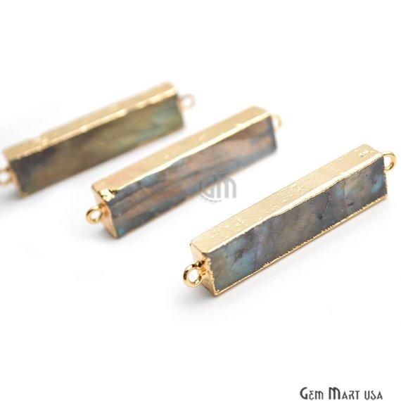Blue Flash Labradorite Link Connector, 41x9mm Gold Electroplated Rectangle Shape Gemstone Charms Connector (GPLB-50025)