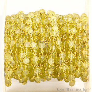 Lemon Topaz 3-3.5mm Gold Plated Wire Wrapped Beads Rosary Chain