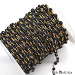 Lava Beads Chain, Gold Plated wire wrapped Rosary Chain, Jewelry Making Supplies (GPLV-30088)