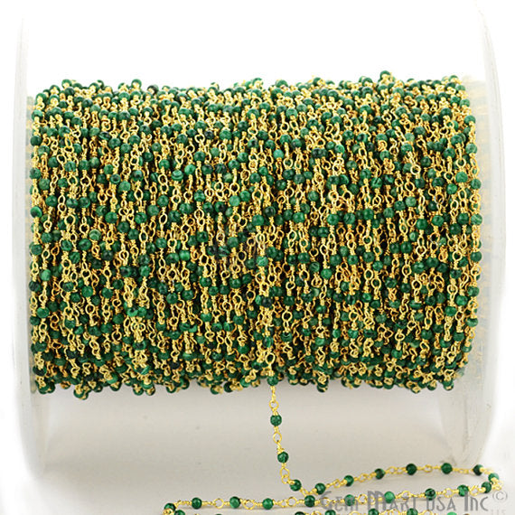 Malachite 25-3mm Beads Chain, Gold Plated wire wrapped Rosary Chain, Jewelry Making Supplies (GPMC-30000)