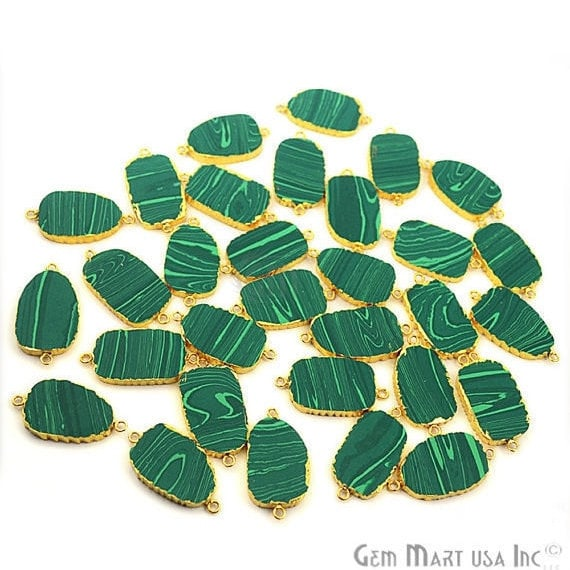 Malachite Petite Flat Pendant, Gold Electroplated Gemstone Link Connector Necklace Chain Pendant (GPMC-50008)