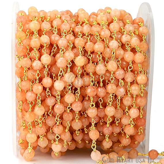 Sunstone Jade 4mm Beads Chain, Gold Plated wire wrapped Rosary Chain, Jewelry Making Supplies (GPMJ-30017)