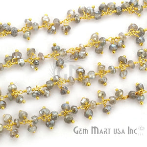 Mistique Labradorite Faceted Beads Gold Wire Wrapped Cluster Rosary Chain - GemMartUSA
