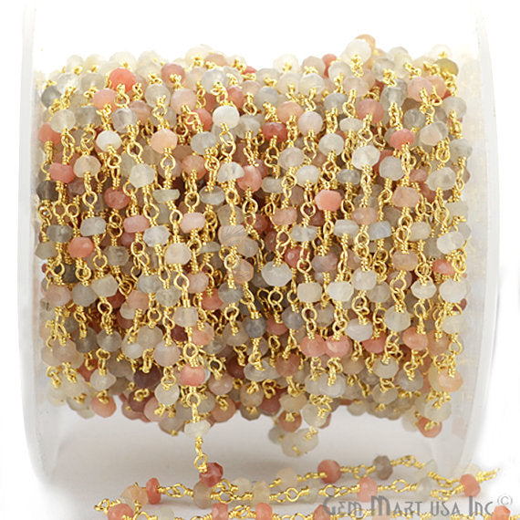 Multi Moonstone Beads Chain, Gold Plated wire wrapped Rosary Chain, Jewelry Making Supplies (GPmm,-30002)