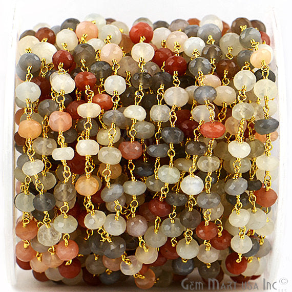 Multi Moonstone Beads Chain, Gold Plated wire wrapped Rosary Chain, Jewelry Making Supplies (GPMM-30036)