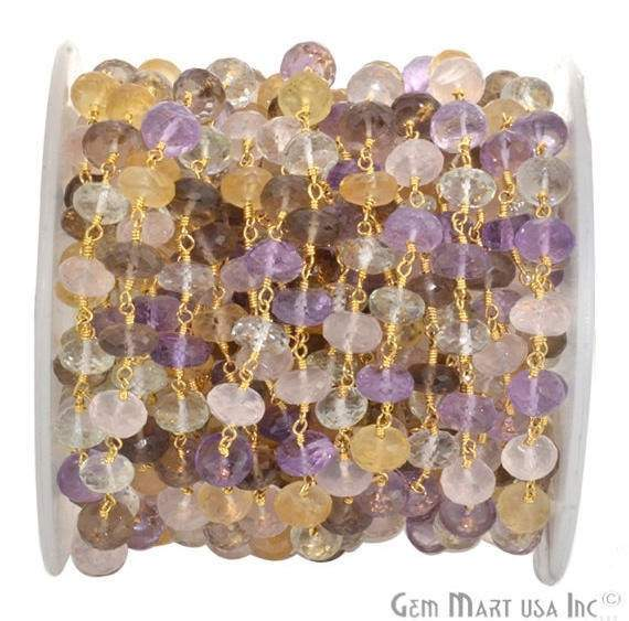 Multi Color 7-8mm Beads Chain, Gold Plated wire wrapped Rosary Chain, Jewelry Making Supplies (GPMR-30035)