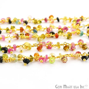Multi Tourmaline Faceted Beads Gold Plated Cluster Dangle Chain - GemMartUSA