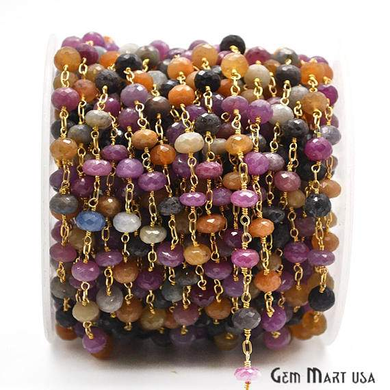 Multi-Color Beads Chain, Gold Plated wire wrapped Rosary Chain, Jewelry Making Supplies (GPMU-30035)