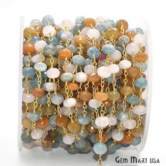 Multi-Color Beads Chain, Gold Plated wire wrapped Rosary Chain, Jewelry Making Supplies (GPMU-30039)