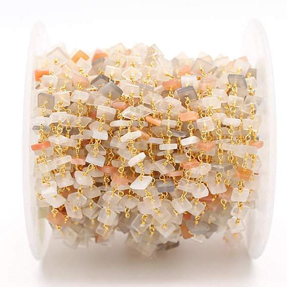 Multi Stone Square Nugget Chips Freeform Beads Chain, Gold Plated wire wrapped Rosary Chain, Jewelry Making Supplies (GPMX-30026)