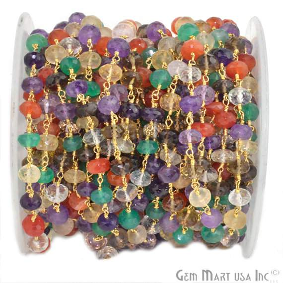 Multi Stone 7-8mm Beads Chain, Gold Plated wire wrapped Rosary Chain, Jewelry Making Supplies (GPMX-30035)