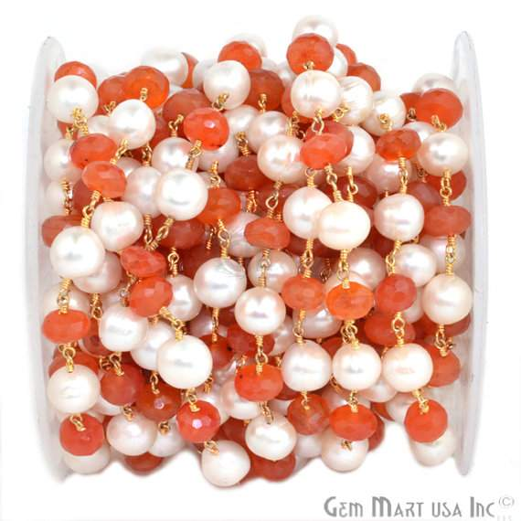 Carnelian with Pearl 7-9mm Beads Chain, Gold Plated wire wrapped Rosary Chain, Jewelry Making Supplies (GPNP-30035)