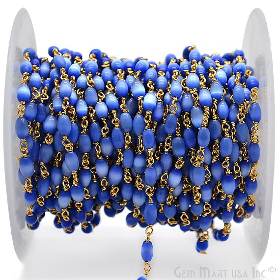 Royal Blue Monalisa Rondelle Beads Chain, Gold Plated wire wrapped Rosary Chain, Jewelry Making Supplies (GPOM-30085)