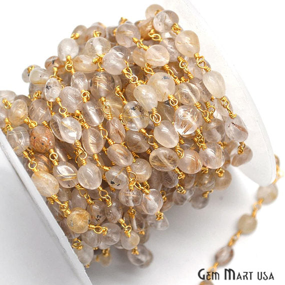 Golden Rutilated Beads Chain, Gold Plated wire wrapped Rosary Chain, Jewelry Making Supplies (GPOR-30044)