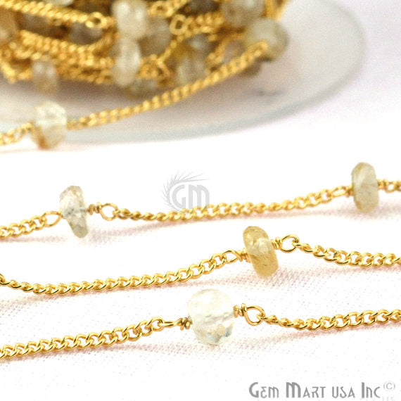 Golden Rutilated Beads Chain, Gold Plated wire wrapped Rosary Chain, Jewelry Making Supplies (GPOR-30077)