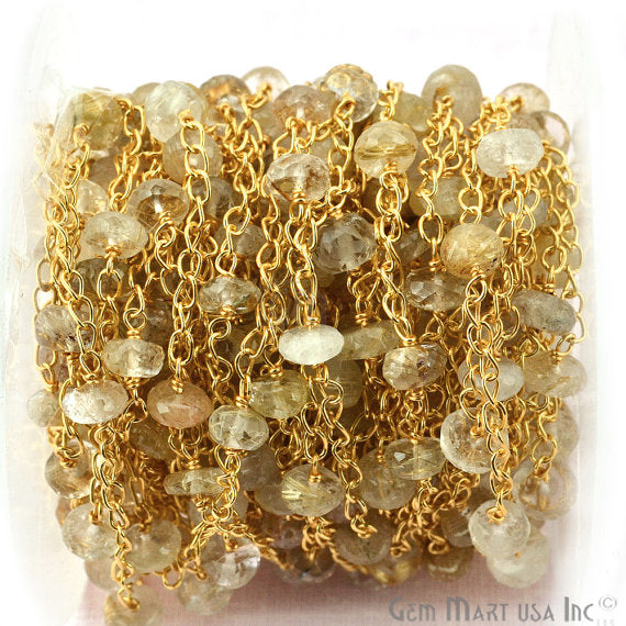 Golden Rutilated Beads Chain, Gold Plated wire wrapped Rosary Chain, Jewelry Making Supplies (GPOR-30078)
