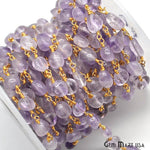 Pink Amethyst Rosary Chain, Rondelle beads Gold Plated Wire Wrapped Chain (GPPA-30044)