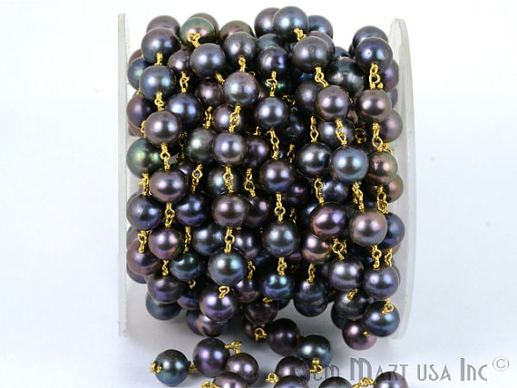 Black pearl 7-8mm Beads Chain, Gold Plated wire wrapped Rosary Chain, Jewelry Making Supplies (GPPB-30004)
