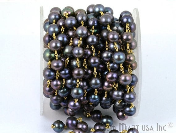 Black pearl 6mm Beads Chain, Gold Plated wire wrapped Rosary Chain, Jewelry Making Supplies (GPPB-30006)