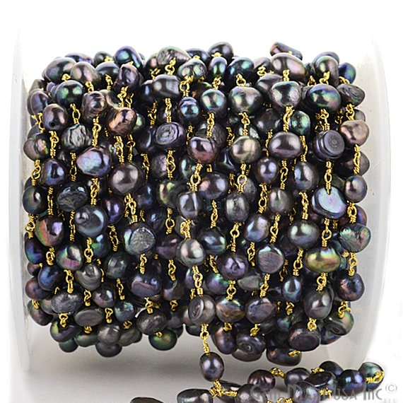 Black Pearl 7-9mm Gold Plated Wire Wrapped Beads Rosary Chain