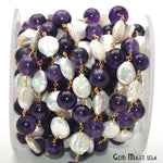 Amethyst & Pearl Beads Chain, Gold Plated wire wrapped Rosary Chain, Jewelry Making Supplies (GPPF-30091)