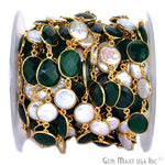 Green Onyx with Pearl Connector Chain, Gold Plated Bezel Continuous Connector Chain, Jewelry Making Supplies (GPPG-20005)