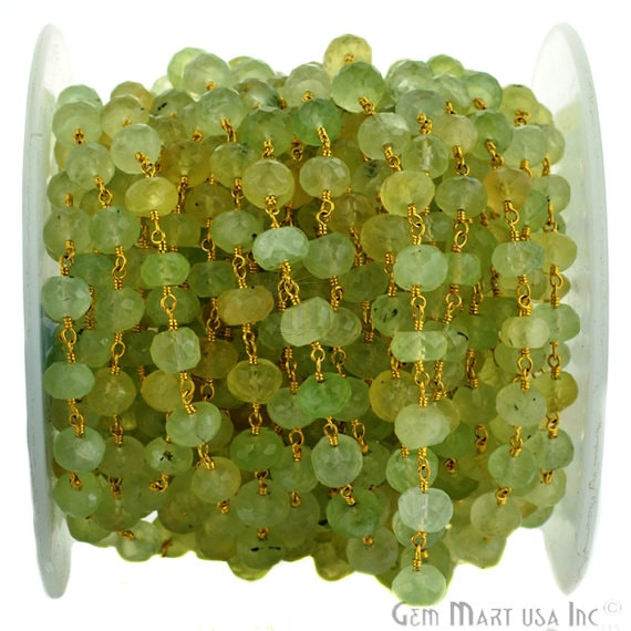 Prehnite 7-8mm Beads Chain, Gold Plated wire wrapped Rosary Chain, Jewelry Making Supplies (GPPH-30035)