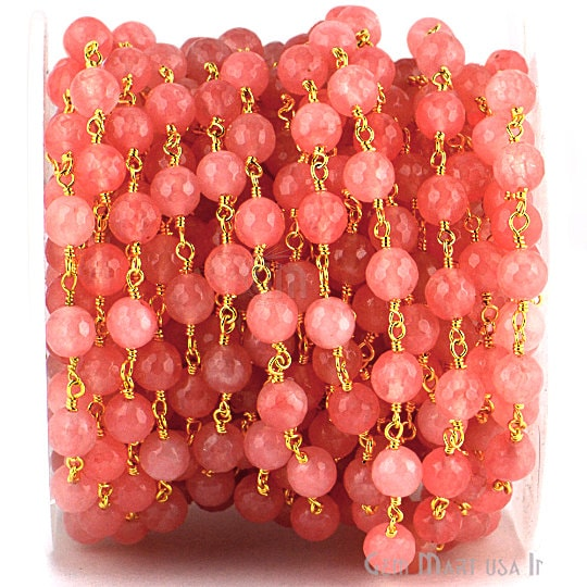 Beautiful Pink Peach Jade 8mm Beads Chain, Gold Plated wire wrapped Rosary Chain, Jewelry Making Supplies (GPPI-30013)