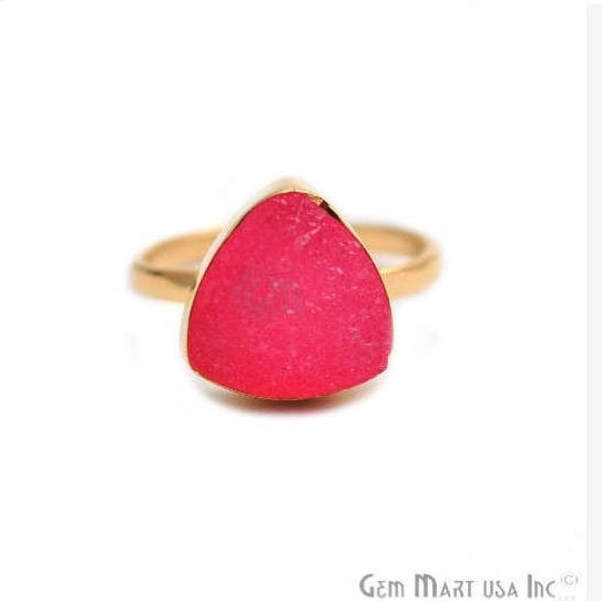 Light Pink Trillion Druzy Gold Plated Ring, Adjustable Fashion Jewelry Statement Ring (GPPL-12012)