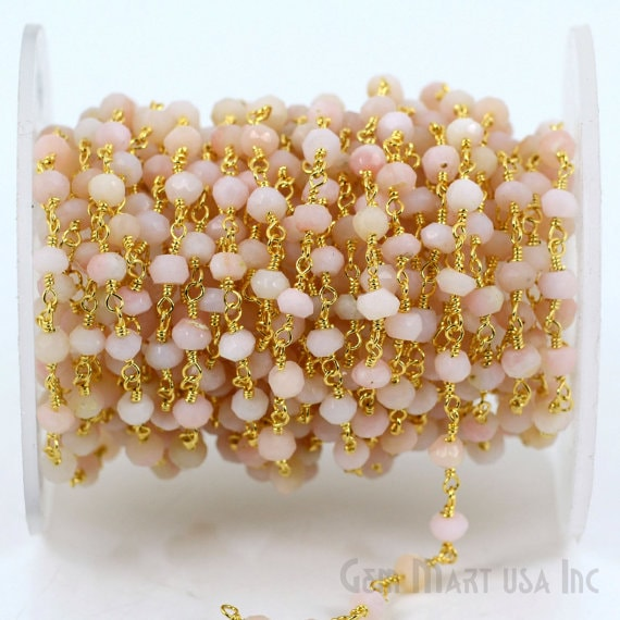Pink Opal 3-35mm Beads Chain, Gold Plated wire wrapped Rosary Chain, Jewelry Making Supplies (Gppo-30002)