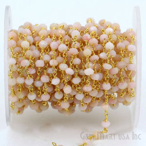 Pink Opal 3-3.5mm Gold Plated Wire Wrapped Beads Rosary Chain