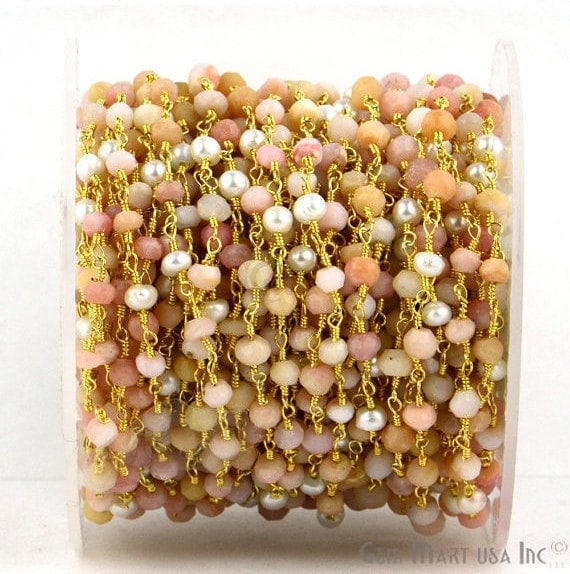 Pink Opal With Pearl Beads Rosary Chain, Gold Plated Wire Wrapped Rosary Chain, Jewelry Making Supplies (GPPO-30007)