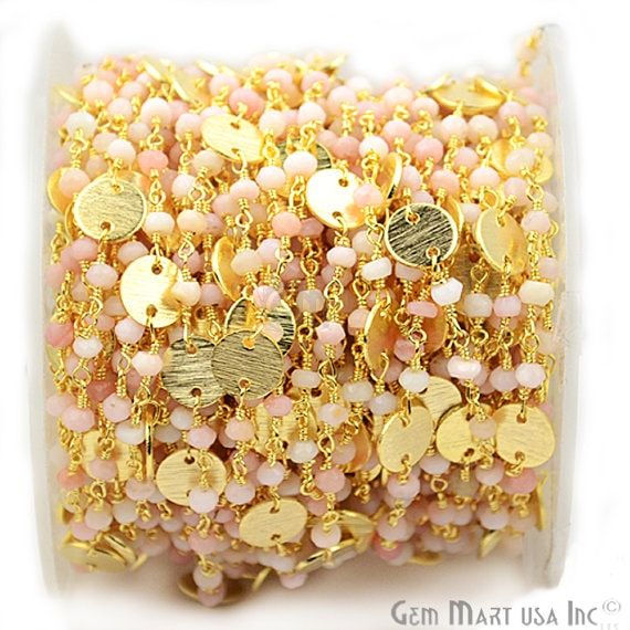 Pink Opal Faceted 3-35mm Beads Chain, Gold Plated wire wrapped Rosary Chain, Jewelry Making Supplies (GPPO-30016)
