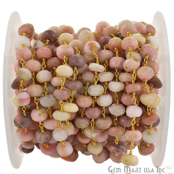 Pink Opal Rondelle 7-8mm Beads Chain, Gold Plated wire wrapped Rosary Chain, Jewelry Making Supplies (GPPO-30035)