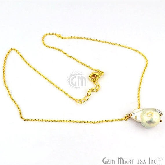 Baroque Pearl Drop 29x15mm Gold Plated Necklace Chain Pendant