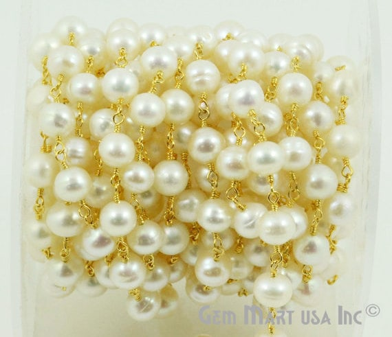White Pearls Fresh Water 7mm Beads Chain, Gold Plated wire wrapped Rosary Chain, Jewelry Making Supplies (GPPR-30004)