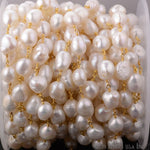 Baroque Pearl 10-15mm Beads Chain, Gold Plated wire wrapped Rosary Chain, Jewelry Making Supplies (GPPR-30041)