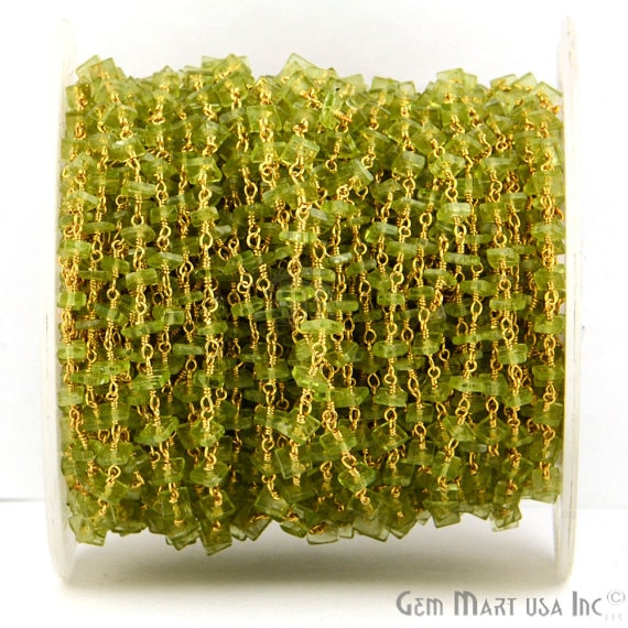 Peridot Square Shape Stone Beads Chain, Gold Plated wire wrapped Rosary Chain, Jewelry Making Supplies (GPPT-30026)