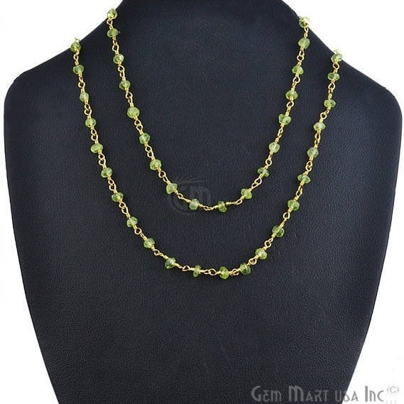Natural Peridot Necklace chain, 18 Inch Gold Plated Beaded Necklace Jewellery
