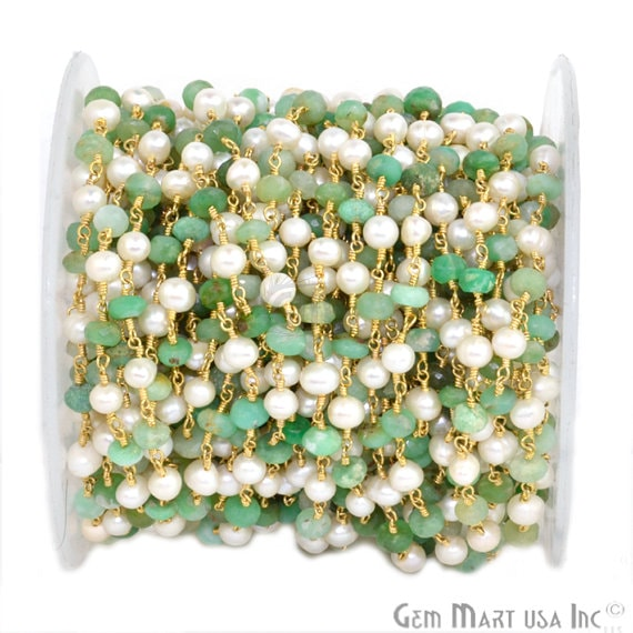 Chrysoprase 5-6mm With Pearl 4-5mm Beads Chain, Gold Plated wire wrapped Rosary Chain, Jewelry Making Supplies (GPPX-30038)