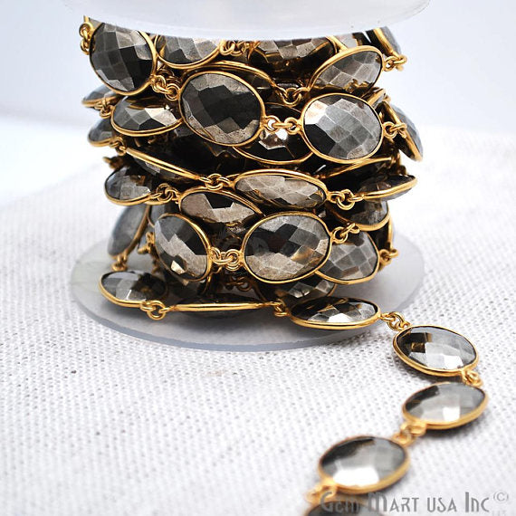 Pyrite Connector Chain, Gold Plated Bezel Continuous Connector Chain, Jewelry Making Supplies (GPPY-20012)