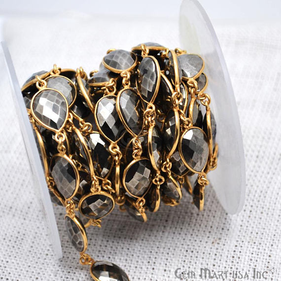 Pyrite Connector Chain, Gold Plated Bezel Continuous Connector Chain, Jewelry Making Supplies (GPPY-20014)