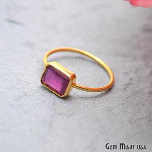 Ruby Stone 2.35ct Gold Vermeil 9x7mm Gemstone Wedding Ring - GemMartUSA