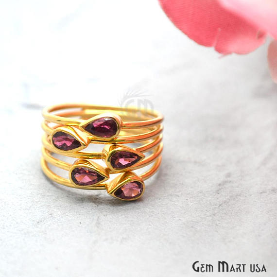 Rhodolite Stone 2.50ct Gold Vermeil 6x4mm Gemstone Wedding Ring