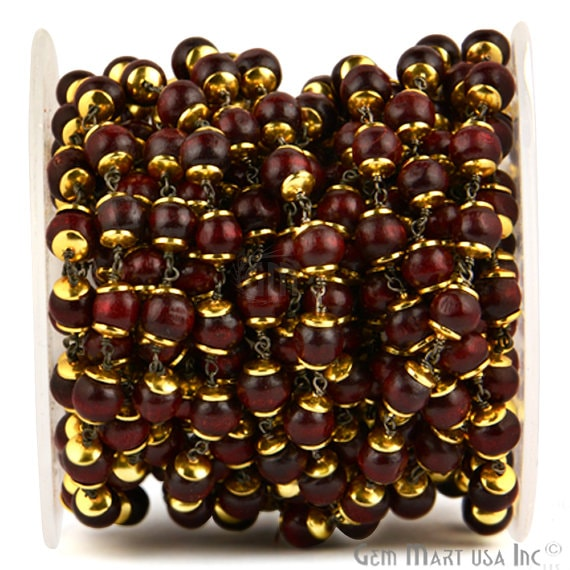 Red Wooden 7-8mm Beads Chain, Black Plated wire wrapped Rosary Chain, Jewelry Making Supplies (GPRE-30035)